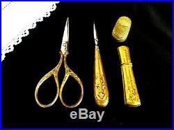 Antique Sewing Set Kit Case French Art Nouveau Needle Case Notions Gold Vintage