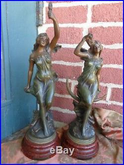Antique Signed Le Jour La Nuit French Art Nouveau Bronze Patina Lady Statue Set