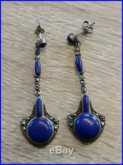Antique Silver Sterling Art Nouveau Marcasite Lapis Lazuli Pendant Earrings 925
