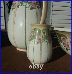 Antique Spencer Edge England Rose Tree Pitcher & Basin Bowl Cup Set Art Nouveau