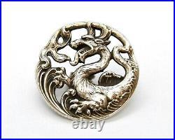 Antique Sterling Silver Art Nouveau Dragon Buttons, Set Of Six In Original Box