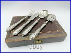Antique Stuffed Silver Dessert Cake Set Pie Cake Server Spoon Minerva 950 ZZ