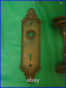 Antique Stunning Brass Art Nouveau Front Entry Door Knob Set Inside & Out G