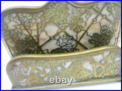 Antique Tiffany & Co. Desk Set Bronze & Glass Grape Vine Pattern Letter Holder