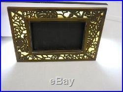Antique Tiffany Studios Desk Set Bronze & Slag Glass Picture Frame Grape Vine