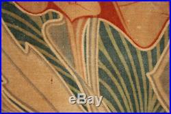 Antique Velveteen Valance Art Nouveau Design Rare Rich Green Tones 1 of Set 1900