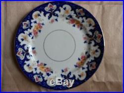 Antique Vintage Bridgwoods 21 Piece China Tea Set Cobalt Blue Floral Gilt