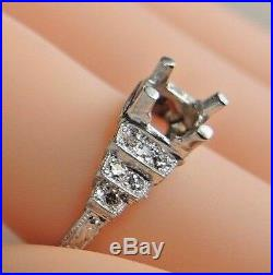 Antique Vintage Deco Mounting Setting 14K White Gold Hold 5.5-6.5MM Ring SZ 6.25