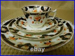 Antique Vintage Melba 21 Piece China Tea Set Black Orange Gilt C1900-1919