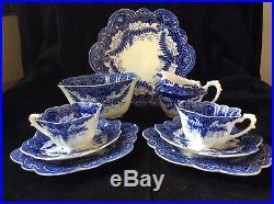 Antique Wileman Pre Shelley Foley China Tea Set Rare Blue White Fern Pattern