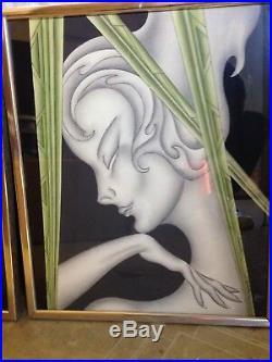 Antique Women fantasy mystical Framed Art Deco Nouveau Prints Original Rare Set