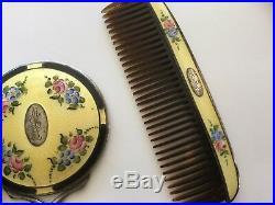 Antique art nouveau Sterling w guilloche enamel mirror & comb set in pouch