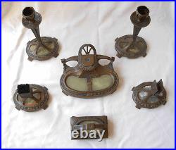 Art Deco Nouveau Set Of Bronze Inkwell -pair Candlesticks-blotter-& 2 Others