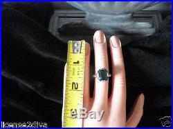 Art Deco Nouveau White Gold 10k Vintage Solitaire Ring Green Stone Claw Set Fine