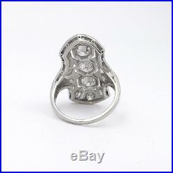 Art Deco Platinum 2ctw Diamond Bezel Pave' Set Navette Cocktail Ring Sz 5