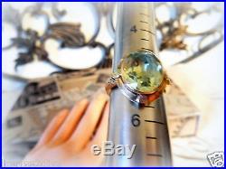 Art Deco True Vintage Peridot Colored Stone 10k Gold Ring Oval Bezel Set Fine