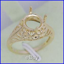 Art Nouveau14K Yellow Gold Round 8x8 mm Semi Mount Ring Setting Customizable
