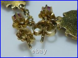 Art Nouveau 14k Yellow Gold Opal Ruby Dangle Pierced Chain Earrings Pair Set