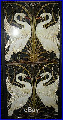 Art Nouveau / Arts & Crafts Walter Crane Swans Design Fireplace Tiles Set Black