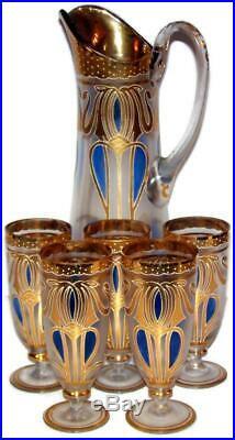 Art Nouveau Bohemian Fritz Heckert Persian Enamel Etched Tankard Water Set