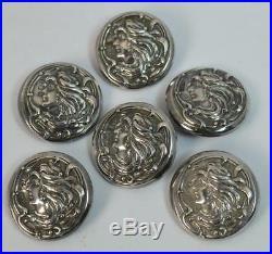 Art Nouveau Chester Silver Set of Six Buttons