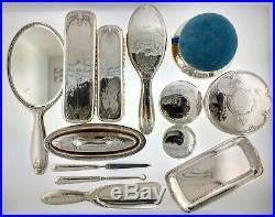 Art Nouveau Early 1900s Tiffany & Co Sterling Silver Vermeil 13 Piece Vanity Set