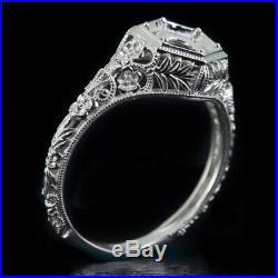 Art Nouveau Engagement Ring Setting Vintage Floral Semi-mount 14k Wg Antique 6mm
