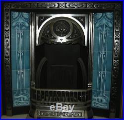 Art Nouveau Fireplace Tile Set 2 X 5 Tile Panels An25 Turquoise Gas / Decorative