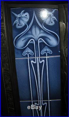 Art Nouveau Fireplace Tile Set (2 X 5 Tile Panels) Ref An25 Blue
