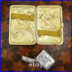Art Nouveau German 800 Silver Smoker's Set Cigarette Case Vesta Match Safe Cigar