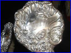 Art Nouveau Hope Solid Sterling Silver Mirror & Brush Set Water Lilies Bullrush