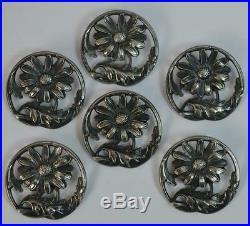 Art Nouveau Period Solid Silver Set of Six Buttons