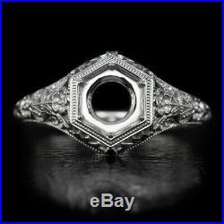 Art Nouveau Platinum Engagement Ring Setting Round Vintage Floral Engraving 6mm