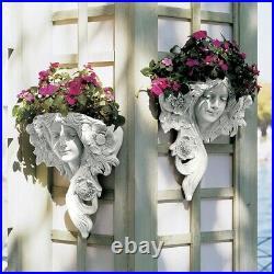 Art Nouveau Set of 2 Greenman Lady French Replica Wall Garden Pocket Planters