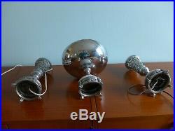 Art Nouveau Sideboard Lamp Set + Bowl Cast Metal Marble Glass Silver Mantel VTG
