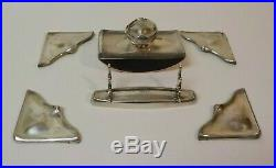Art Nouveau Sterling Silver Desk Set (Pen Tray, Ink Blotter, Desk Pad Ends)