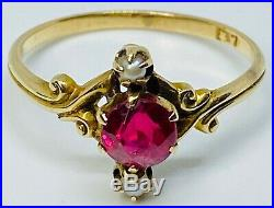 Art Nouveau Victorian Ruby Ring with Seed Pearls Set in 10k Solid Gold Size 8