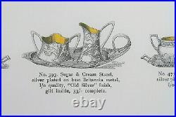 Art Nouveau WMF 393 Jugendstil Antike Versilbert Zucker & Milch 3 Teileset 1900