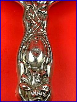 Art Nouveau Woman Daffodils Marshall Field Sterling Vanity Mirror & Brush Set