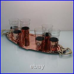 Art Nouveau brass copper liquor set by WMF