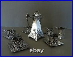 Art Nouveau silver plate on Pewter Coffee set. Circa 1900. Marked