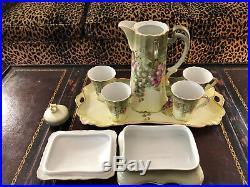 Bavaria Chocolate Tea Set. 9pc Antique Grapes by A. Koch 1900-1920