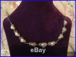 Beautiful Antique Art Nouveau Lustrous Genuine Pearls Set Solid Silver Necklace