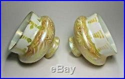 Beautiful Signed Set of QUEZAL Art Glass Lamp Shades. C. 1902 Tiffany Steuben Era