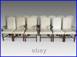 Beautiful set 12 Hepplewhite style high back Dining Chairs Pro French polished