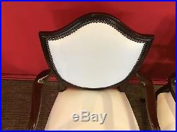 Beautiful set 12 Lilly White leather mahogany Dining Chairs Pro French polished