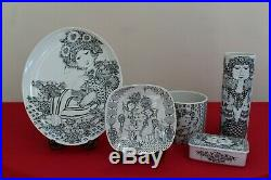 Bjorn Wiinblad Rosenthal Studio Line Set with Plates, Vase, Trinket Box Vintage