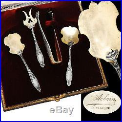 Boxed French Silver & Vermeil 4pc Hors d'Oeuvre Set Art Nouveau pattern