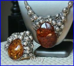 Butterscotch Amber Set of Necklace and Bracelet Vintage Silver 925 Art Nouveau