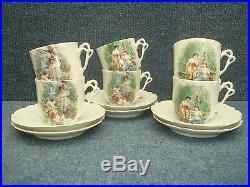COMPLETE PORCELAIN BELLE EPOQUE ART NOUVEAU COFFEE SET PRINTED 1900's